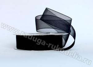Органза черная, 25 мм