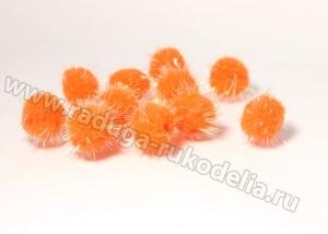 Помпоны с люрексом, 2 см. оранжевые