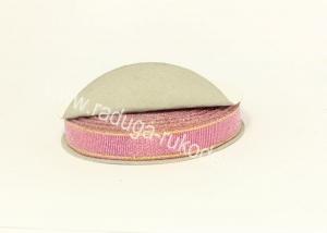 Парча розовая с люрексом, 12 мм