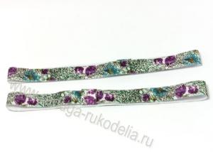 Повязка эластичная 1,5 х 19 см, цветы фиолетовые и голубые