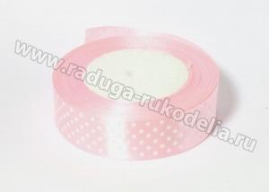 Лента атласная, 25 мм горох бледно-розовая