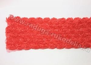 Лента шифон с розами, ширина 9 см, красная