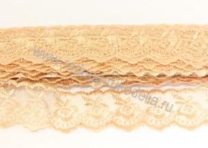 Кружево вышивка на капроне 4 см. Бежевое