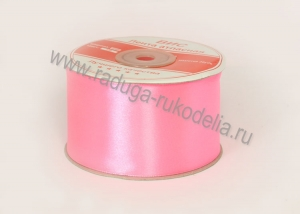 Атласная лента 5 см, розовая -В-039
