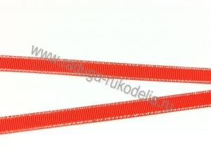 Лента репсовая с люрексом СЕРЕБРО красный-235, 9 мм