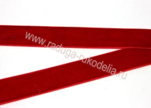 Лента бархатная темно-красная, 25 мм