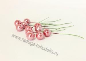 Ягода на проволоке 12 мм, вишневый перламутр