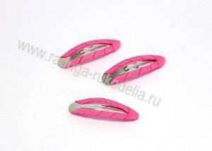 Заколка клик-клак в ткани, металл+ткань, ярко-розовый
