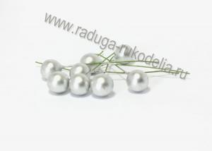 Ягода на проволоке 12 мм, серебро