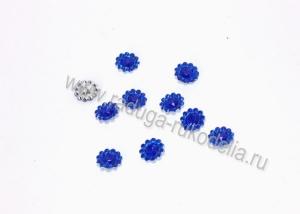Кабошоны Цветочки, 11 мм, синий