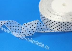 Органза горох, белая. 25 мм