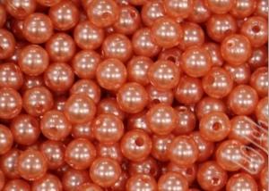 Бусины акриловые под жемчуг, темно-персиковые, 8 мм (35-40 шт)