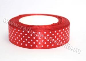 Лента атласная, 25 мм горох мелкий на красном
