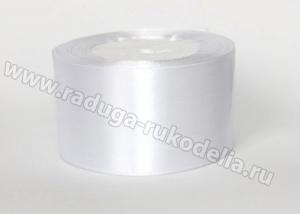 Атласная лента 5 см, белая-001