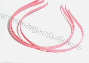 Ободок металл+ткань, 6 мм, ярко-розовый