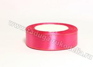 Лента атласная с люрексом, 25 мм. Ярко-розовая