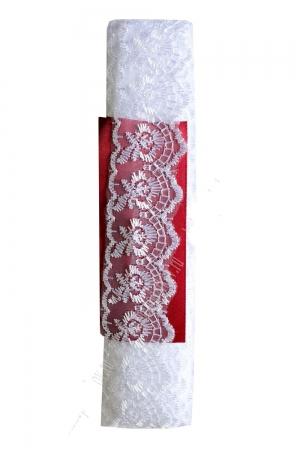 Кружево белое. Вышивка на капроне, 4 см