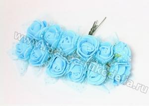Букетик розочек с фатином (12 шт) голубые, 2-2,5 см