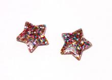 Кабошон Звезда с блестками Розовая2, 25 мм