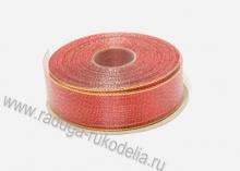Парча красная с люрексом, 25 мм