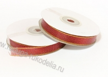 Парча красная с люрексом, 12 мм