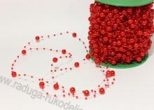 Бусины на леске 3 и 8 мм, красные