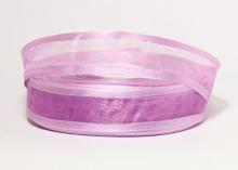 Органза с окантовкой атласной, 25 мм, сиреневая
