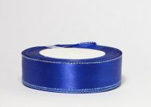 Атласная лента с люрексом серебро 25мм, синяя