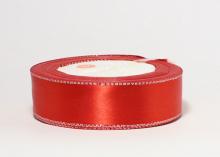 Атласная лента с люрексом серебро 25мм, красная