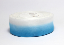 Органза градиент бело-голубая, 40 мм