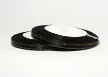 Лента атласная с люрексом золото, 6 мм, черная, бобина (25 ярдов)