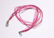 Шнурок на шею чокер, розовый. 40 см
