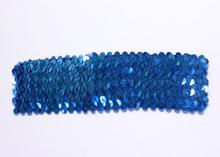 Повязка с пайетками, 4,5 см, Синяя