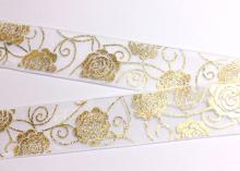 Органза белая с розами золото, 25 мм