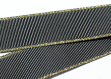 Репс с люрексом Золото Черный 030, 38 мм