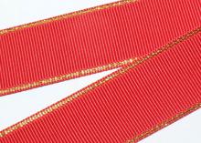 Репс с люрексом Золото Красный 250, 38 мм
