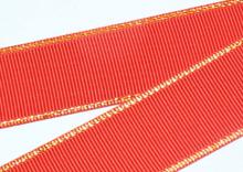 Репс с люрексом Золото Красный 235, 38 мм