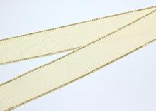 Репсовая с люрексом Золото, Кремовая 815, 25 мм