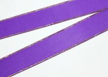 Репсовая с люрексом Золото, Фиолетовый 465, 25 мм