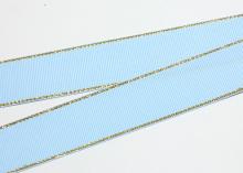 Репсовая с люрексом Золото, Голубой 308, 25 мм