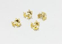 Шапочки для бусин 3-листник, 14 мм Золото