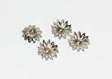 Шапочки для бусин 12-листник, 16 мм Серебро темное