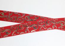 Репсовая лента Завитки серебро на Красном, 22 мм