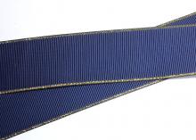 Репс с люрексом ЗОЛОТО 38 мм , Темно-синий-370