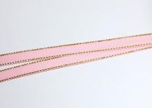 Лента репсовая с люрексом ЗОЛОТО розовый-123, 9 мм