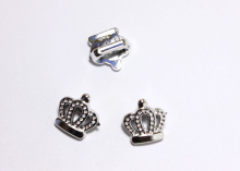 Пряжка декоративная Корона, серебро, 18*19 мм
