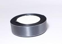 Атласная лента с люрексом серебро 25мм, темно-серая