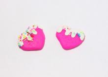 Кабошон сердце, 25 мм, ярко-розовое