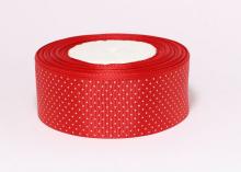 Репсовая лента горох мелкий на красном, 40 мм