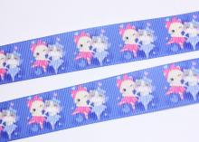 Репсовая лента Котята на голубом, 25 мм